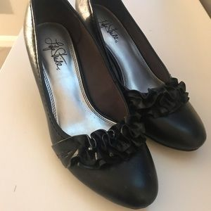 Black Leather Heels with Ruffle Accent